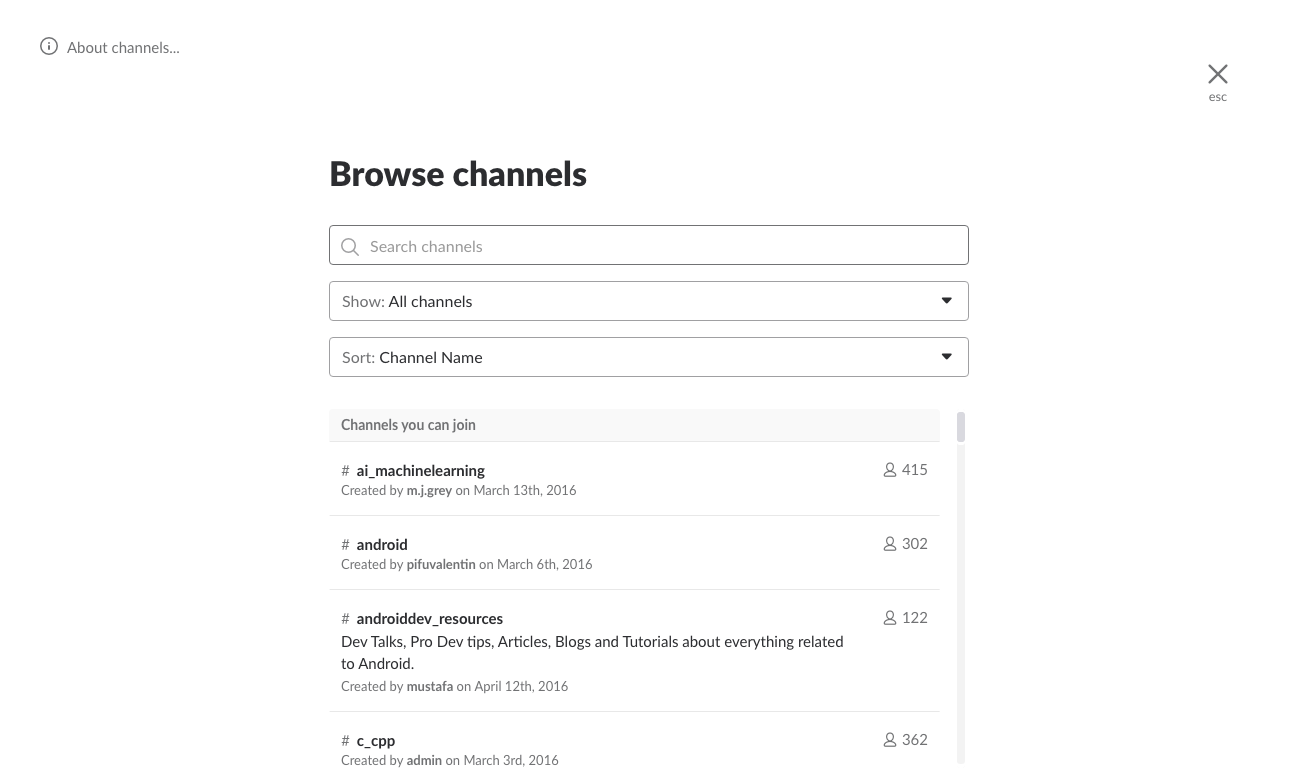 The Channels list